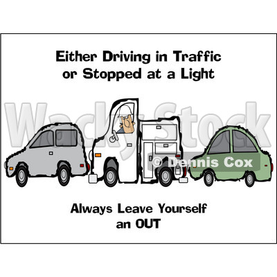 Royalty-Free Vector Clip Art Illustration of a Utility Truck Sandwiched Between Two Cars With Safety Text © djart #1056412