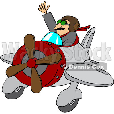 Royalty-Free Vector Clip Art Illustration of a Waving Pilot Flying His Plane © djart #1056413