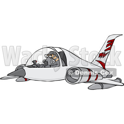 Royalty-Free Vector Clip Art Illustration of a Pilot Flying A Jet © Dennis Cox #1056416