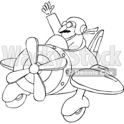 Royalty Free Vector Clip Art Illustration Of A Coloring Page Outline Waving Pilot Flying His Plane