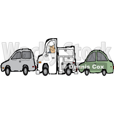 Royalty-Free Vector Clip Art Illustration of a Worker Man And His Utility Truck Stuck Between Two Cars © djart #1056420