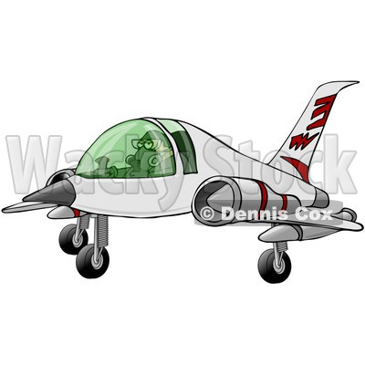 Royalty-Free Clip Art Illustration of a Man Landing A Jet © Dennis Cox #1056426