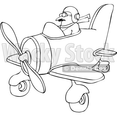 Royalty-Free Vector Clip Art Illustration of a Coloring Page Outline Of A Pilot Flying A Little Plane © djart #1056818