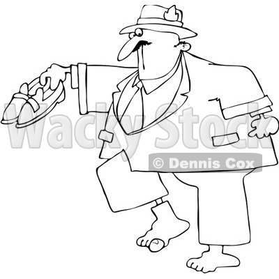 Royalty-Free Vector Clip Art Illustration of a Coloring Page Outline Of A Man With A Hole In His Sock © djart #1057871
