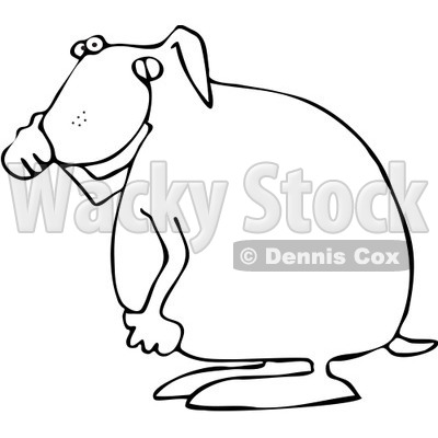 Royalty-Free Vector Clip Art Illustration of a Coloring Page Outline Of A Dog Covering His Nose © djart #1057878