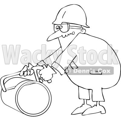 Royalty-Free Vector Clip Art Illustration of a Coloring Page Outline Of A Worker Man Using A Hacksaw To Cut A Pipe © djart #1057892