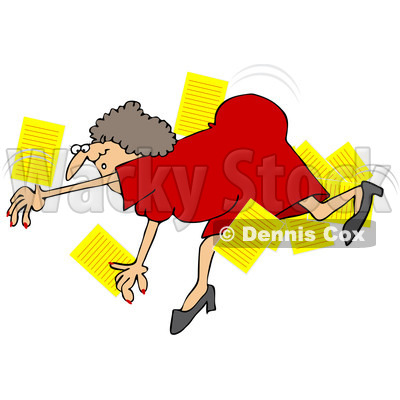 Royalty-Free Vector Clip Art Illustration of a Woman Falling And Dropping Papers © djart #1059508