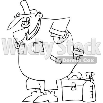 Royalty-Free Vector Clip Art Illustration of a Coloring Page Outline Of A Happy Worker With A Tool Box And Cleaner © djart #1059514