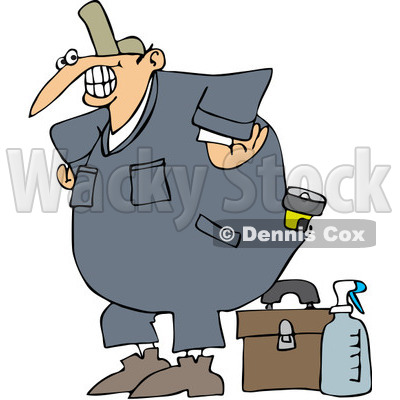 Royalty-Free Vector Clip Art Illustration of a Happy Worker With A Tool Box And Cleaner © djart #1059519