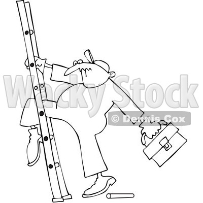 Royalty-Free Vector Clip Art Illustration of a Coloring Page Outline Of A Worker With His Leg Stuck In A Ladder © djart #1061050