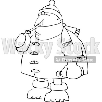 Royalty-Free Vector Clip Art Illustration of a Coloring Page Outline Of A Man In Winter Clothes, Sipping A Beverage © djart #1061056