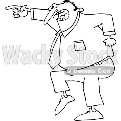Clipart Outlined Mad Businessman Pointing - Royalty Free Vector Illustration © djart #1062792