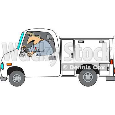 Clipart Worker Driving A Utility Truck - Royalty Free Vector Illustration © djart #1062794