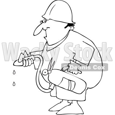 Clipart Outlined Worker Using An Extinguisher - Royalty Free Vector Illustration © djart #1062798