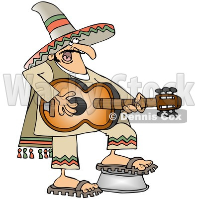 Clipart Mexican Guitarist - Royalty Free Vector Illustration © djart #1064251