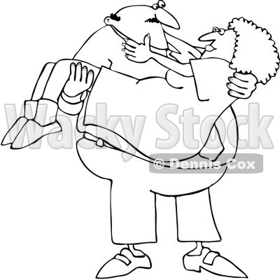 Clipart Outlined Man Carrying His Lady - Royalty Free Vector Illustration © Dennis Cox #1065009