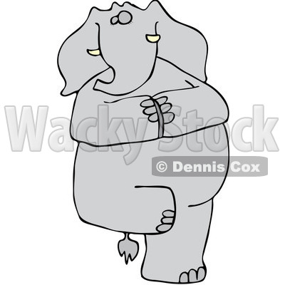 Clipart Yoga Elephant Balanced On One Leg - Royalty Free ...