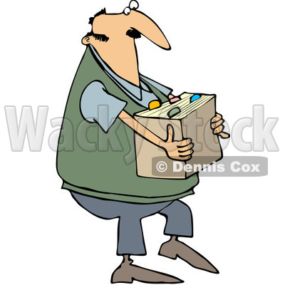 Clipart Man Carrying A Box Of Files - Royalty Free Vector Illustration © djart #1065016