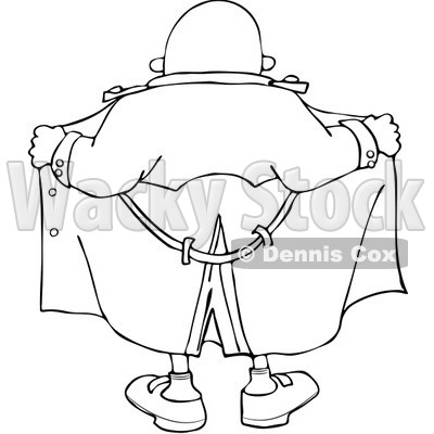 Clipart Outlined Flasher Man From Behind - Royalty Free Vector Illustration © djart #1067868