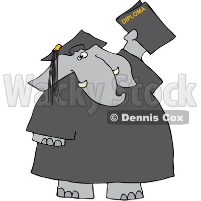 Clipart Graduate Elephant With A Diploma - Royalty Free Vector Illustration © djart #1068862