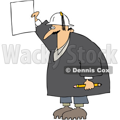 Clipart Construction Worker Holding A Message - Royalty Free Vector Illustration © djart #1069037