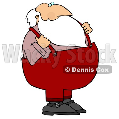 Santa With His Hands on His Suspenders Clipart Illustration © djart #10693