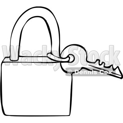 Clipart Outlined Key And Padlock Royalty Free Vector