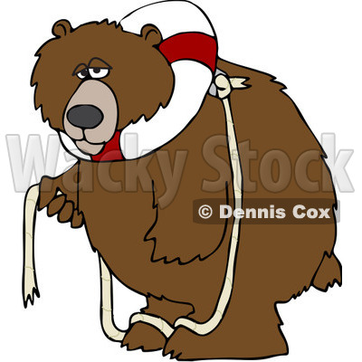 Clipart Bear With A Life Buoy On His Head - Royalty Free Vector Illustration © djart #1069899