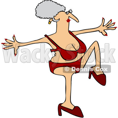 Clipart Senior Woman Doing A High Step In Heels And A Red Bikini - Royalty Free Vector Illustration © djart #1071940