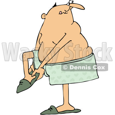 Clipart Man In Boxers Putting His Slippers On - Royalty Free Vector Illustration © djart #1071941