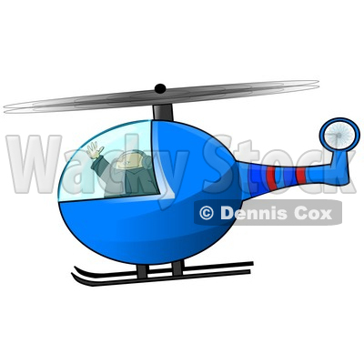 Male Helicopter Pilot Flying Clipart Illustration © djart #10753