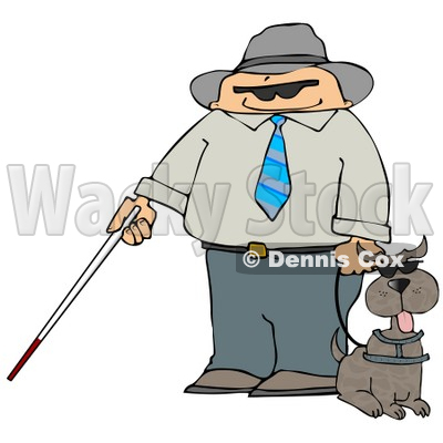Blind Man With a Cane and Guide Dog Clipart Illustration © djart #10756