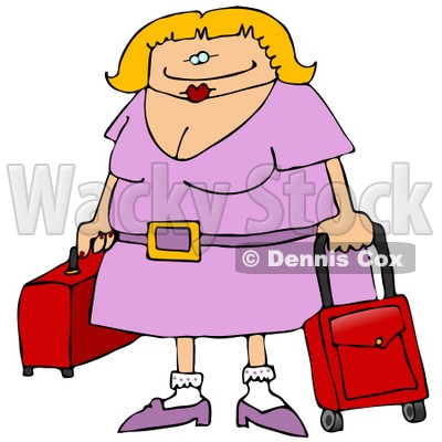 Traveling Blond Woman With Rolling Luggage at the Airport Clipart Illustration © djart #10757
