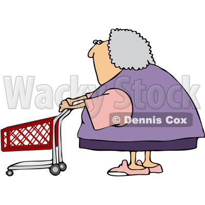 Clipart Senior Woman Pushing A Shopping Cart - Royalty Free Vector Illustration © djart #1078200
