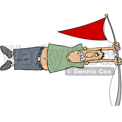 Clipart Man Holding Onto A Flag Pole In High Winds - Royalty Free Vector Illustration © djart #1078204