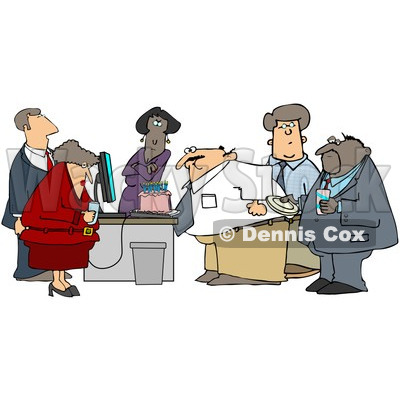 Clipart Businessman Blowing Out The Candles On His Cake At An Office Birthday Party - Royalty Free Illustration © djart #1078804