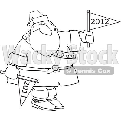 Clipart Outlined Santa Holding 2011 And 2012 New Year Flags - Royalty Free Vector Illustration © djart #1078805