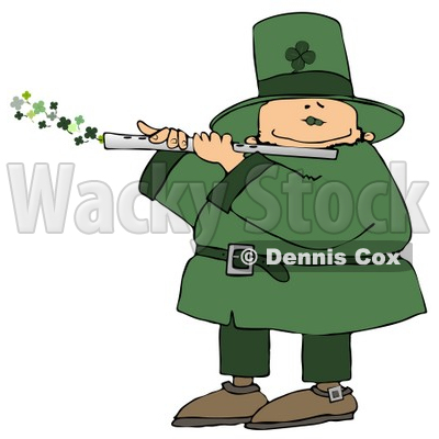 Happy Leprechaun Playing a Four Leaf Clover Flute on St Paddy's Day Clipart © djart #10789