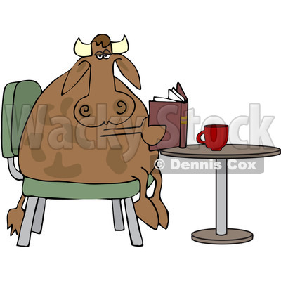 Clipart Cow Sitting At A Table And Reading A Book With Coffee - Royalty Free Vector Illustration © djart #1079904