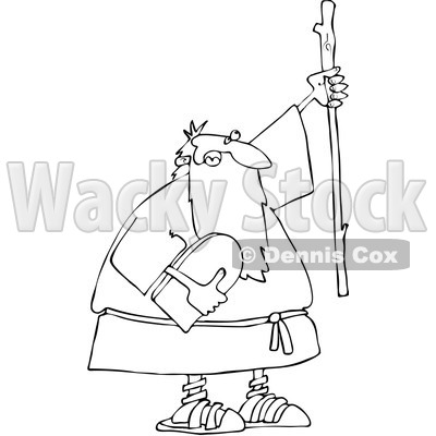 Clipart Outlined Moses Holding The Ten Commandments Tablet And Stick - Royalty Free Vector Illustration © djart #1080444
