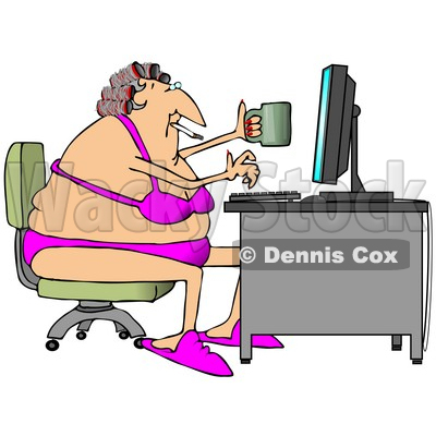 White Woman in Her Bra and Underwear, Hair in Curlers, Smoking a Cigarette, Holding a Coffee Mug and Typing on a Computer at a Desk Clipart Illustration © djart #10808