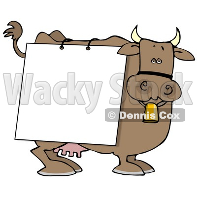 Brown Dairy Cow With a Blank White Sign on it Clipart Illustration © djart #10810