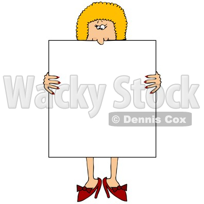 Blond Woman in Heels, Standing Behind and Holding a Blank White Sign Clipart Illustration © djart #10811
