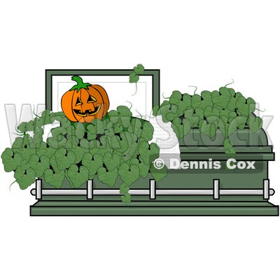 Clipart Jackolantern And Leaves In A Green Coffin - Royalty Free Vector Illustration © djart #1081320
