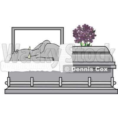 Clipart Dead Elephant In A Coffin - Royalty Free Vector Illustration © djart #1081321