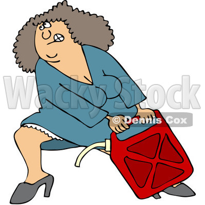 Clipart Woman Lugging A Heavy Gas Can - Royalty Free Vector Illustration © djart #1082264
