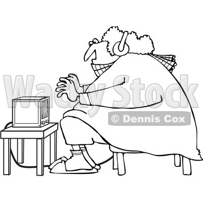 Clipart Outlined Cold Woman Wearing Bunny Slippers And Muffs By A Space Heater - Royalty Free Vector Illustration © djart #1082536