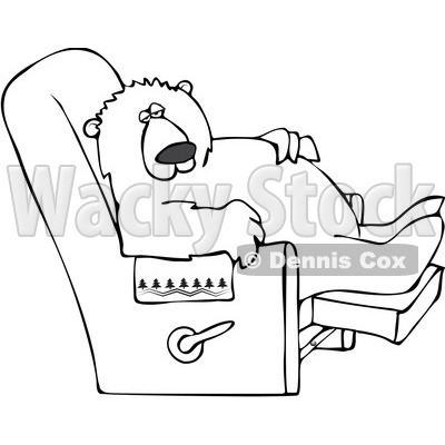Clipart Outlined Bear Relaxing In A Recliner Chair