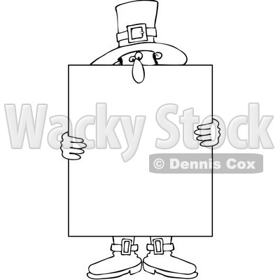 Clipart Outlined Pilgrim Holding A Thanksgiving Sign - Royalty Free Vector Illustration © djart #1083579
