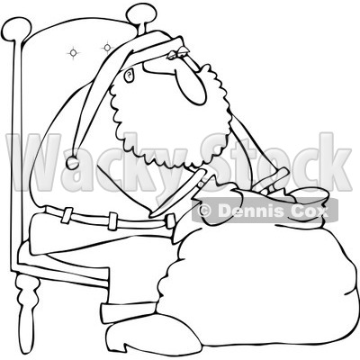 Clipart Outlined Santa Sitting In A Chair And Looking Into His Bag - Royalty Free Vector Illustration © djart #1084439